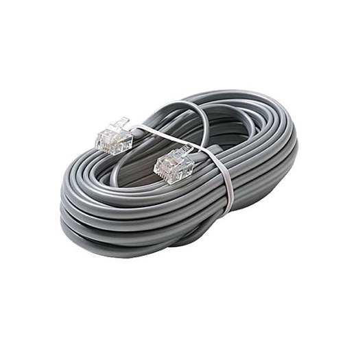 Eagle 25' FT Telephone Cord Cable 6 Conductor Flat Silver Satin RJ12 Modular Plug 6P6C Cord Connect RJ-12 Communication Wire Extension Cable