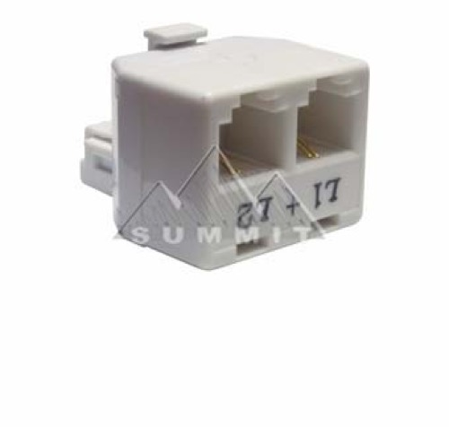 Genmark Modular 2-Way Phone 2-Line Adapter Splitter 4 x 2 + 2 Duplex RJ11 Jack Adapter Modular 2-Line L1 + L2 Dual White Jack Divider Telephone Cord Snap-In Jack Connector Extension, Part # 52-263