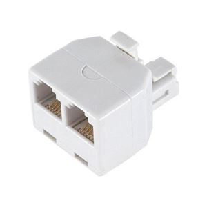 Modular Wall Phone Adapter Dual T Splitter Line RJ11 RJ-11 Twin White 2 Outlet Telephone Plug Jack Duplex Converter Connection Snap-In, Part # Leviton C0247-W, C0247W