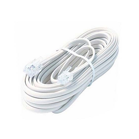 Steren BL-324-050WH 50' FT Flat Phone Cord Cable 4 Conductor White Modular Line Audio Data Signal Telephone Jack Distribution Line Hook-Up Wire Extension, With RJ-11 Connectors, Part # BL-324050-WH
