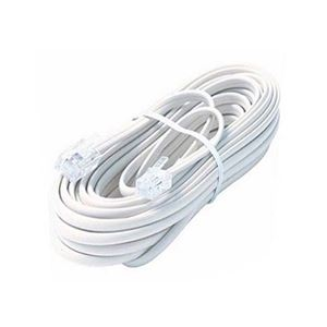 Steren 304-100WH 4 Conductor 100' FT Modular Line with Ends White Telephone Cable 6P4C RJ11 Male Connectors Ultra Flexible PVC Cord Extension RJ-11 Jack Data Signal Transfer, Part # 304100-WH