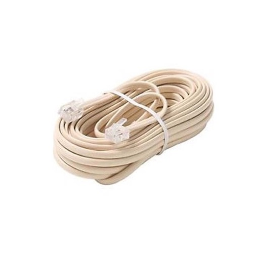 Steren 304-100IV 100' FT Modular Line Ivory Cable Cord Conductor with RJ11 Plug Each End Phone Voice Ultra Flexible Flat Telephone Cord Extension RJ-11 6P4C Snap-In Connector Jacks, Part # 304100-IV