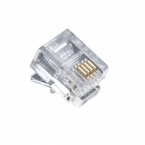 Steren 301-064-100 RJ11 Gold Modular Plug Flat Stranded Connector 100 Pack RJ-11 6P4C Wire Pin Conductor Modular Audio Voice Data Signal Line Snap-In Jack Compression Plugs, Part # 301064-100