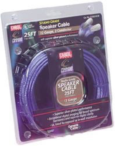 Eagle 16 AWG Gauge Speaker Cable Studio Grade 25' FT  2 Wire Silver Plate Carol, In-Wall Digital Audio Signal Hook-Up Extension, Broad Spectrum Harmonics, UL Listed