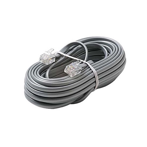 Eagle 7' FT Telephone Line Cord Cable 6 Conductor Wire Silver Satin Flat Ultra Flexible Modular Line Plug Connectors Each End 6P6C RJ12 Phone Connect RJ-12 Communication Wire Extension Cable