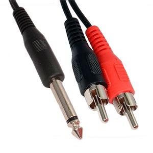 "Eagle N-207P 2 Plug Stereo RCA Male to 1/4"" Inch Male Mono Y Adapter 6"" Inch Cable Phono to Dual RCA Male Adapter Plug Shielded Audio Splitter Cable Signal Separating Push-In Component Jack Connector"