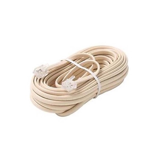 Eagle 7 FT Telephone Cord Cable Ivory RJ11 4 Conductor Flat Modular 6P4C Phone Plug Connectors