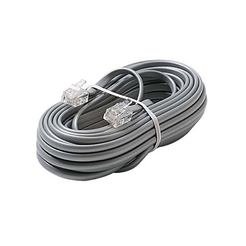 Eagle 7 FT Telephone Line Cord 4 Conductor Voice Modular Ling RJ11 4 Conductor Silver Gray 6P4C Connecter Plug Connector Each End Line Modular Cable Flat Line Phone Cord Cross-Wired for VoIP