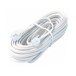 Steren 304-007WH 7' FT 4-Conductor RJ-11 Line Cord White with Plug RJ11 Connector Both End Flat Telephone 6P4C Phone Cord Cross-Wired for VoIP Cable Line Connector, Part # 304007-WH