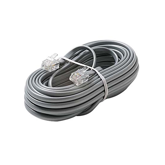 Eagle 12' FT Telephone Cord Cable Satin Silver 4-Conductor RJ11 Plugs Each End Modular Flat Voice Data Telephone Line 6P4C RJ-11 Phone Cord Cross-Wired for VoIP