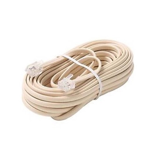 Steren 304-015IV 15' FT Telephone Line Cord Ivory 4-Wire Conductor with RJ11 Plug Each End Flat Cord Cable 6P4C RJ-11 Phone Cord Cross-Wired for VoIP Cable Line Connector, Part # 304015-IV
