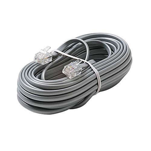 Eagle 15' FT RJ11 Phone Cord Flat Silver Satin 4 Conductor Plug Connector 6P4C Phone Line Cord Silver Satin Plug Connector Each End Flat Telephone Cord Cable 6P4C Cord Cross-Wired for VoIP Cable Line Connector