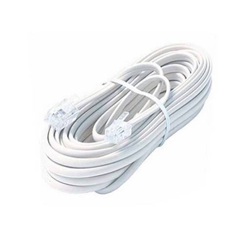 Steren 304-015WH 15' FT Phone Cord White 4 Conductor RJ11 Plug Modular Line Flat 6P4C Telephone Connector Cable Cross-Wired for VoIP Cable Line Connector