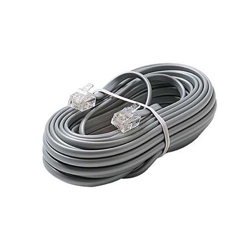 Steren 304-025SL 25' FT Telephone Cord Line Cable Silver Satin 4 Conductor RJ11 Plug Male Flat Telephone Cord Cable 6P4C Cord Cross-Wired for VoIP Cable Line