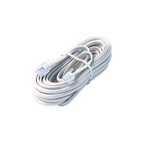 Steren 304-025WH 25' FT 4-Conductor Phone Line Cord White Plug Connector Each End Flat Telephone Cord Cable 6P4C Cord Cross-Wired for VoIP Cable Line Connector, Part # 304025-WH
