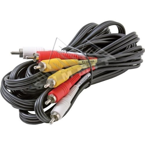 Steren 206-278 12' FT 3-RCA Cable Triple Red/Yellow/White Male to Male Dubbing Composite Cable Nickel Plate A/V Stereo DVD VCR Hook-Up Jumper with Plug Connectors