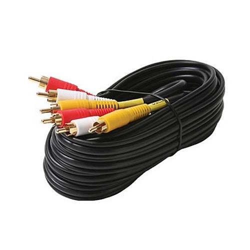 Eagle 60' FT 3-RCA Male to Male Stereo Cable Audio Video Patch Composite Shielded Gold Plate Cord A/V Composite Triple Red/Yellow/White Dubbing Audio Video Digital Signal DVD VCR Hook-Up Jumper with Plug Connectors