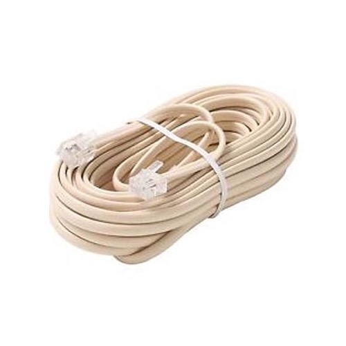 Eagle 304-050IV 50' FT Phone Cord Ivory 4 Conductor Line with RJ11 Plugs Each End Modular Telephone Flat Cord Cable 6P4C Phone Cord Cross-Wired for VoIP Cable Line Connector