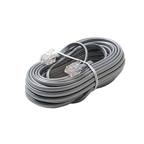 Eagle 50' FT Telephone Line Cord Satin Silver Modular 4 Copper Wire Conductor RJ11 Voice 6P4C 28 AWG RJ11 Plug Connector Each End 6P4C Flat Phone Cord Cable RJ-11 Cross-Wired for VoIP