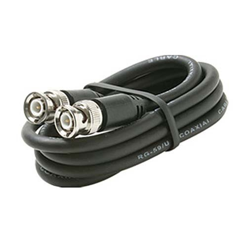 Eagle 12' FT BNC Coaxial Cable Male to Male Black Plug RG59 Nickel Plate Connector Each End BNC Male to BNC Male RG-59 Factory Installed BNC Connectors