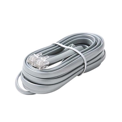 Eagle 7' FT Data Line Cord Cable Satin Silver 6-Conductor Wire Transfer Modular Flat RJ12 Each End Data Processing Flat 28 AWG Wire Plug Jack Connect Communication Extension Cable