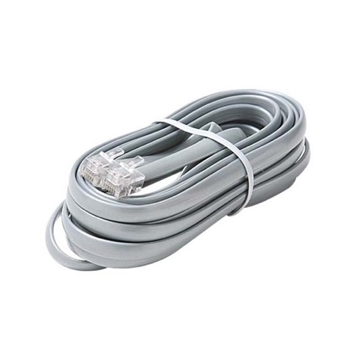 Steren 306-715SL 15' FT Data Line Cord Cable Satin Silver 6-Conductor Wire Transfer Modular Flat RJ12 Each End Data Processing Flat 28 AWG Wire Plug Jack Connect Communication Extension Cable, Part # 306715-SL