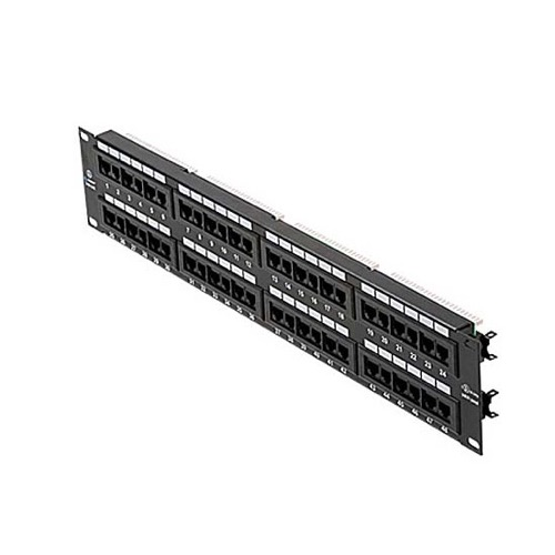 "Eagle 48 Port CAT5e Patch Panel RJ45 110 Type Rack Mount Commercial Grade Voice Data 19"" Inch RJ-45 110-IDC Punch Down Panel UL 22-26 AWG Strain Relief System CAT-5e Modular Termination Distribution Module Lan Hub"