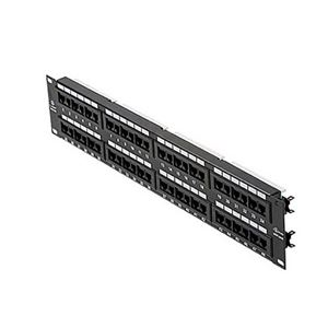 Steren 310-348 48 Port CAT5E Patch Panel RJ45 IDC 110 Loaded Rack Mount Gold Plate Contacts RJ45 Fast Media Commercial Grade Voice Data  22-26 AWG Ethernet Modular Termination Distribution Module Telephone Lan Hub, Part # 310348