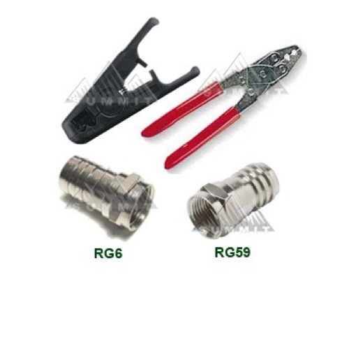 Eagle Coax Cable Connector Kit Crimper Tool Cable Stripper Connectors 10 Connectors Each Size for RG59 RG6 Cable Off Air Satellite Jumpers Extensions
