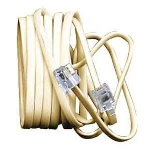 Base Phone Cord 14' FT Ivory Modular Line Cable RJ11 6P4C Jack Plug Audio Data Tone Replacement Telephone Station Cable Snap-In Plug, Part # Woods 0906I