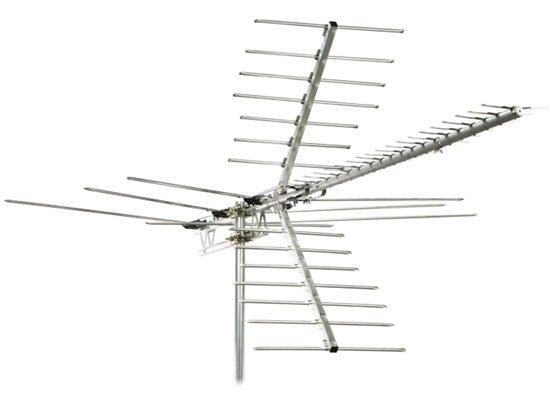 Channel Master CM 2020 Digital Advantage TV Antenna 60 Mile Range for VHF UHF Reception HDTV High Band Antenna Terrestrial HD 41 Element Outdoor TV Off-Air Signal Local Aerial 50 FT RG6 Coax With Gold F Connectors, BLUE ZONE, Part #CM2020