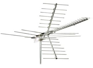 Channel Master CM 2020 Digital Advantage TV Antenna 100 Miles Long Range for VHF UHF Reception HDTV High Band Antenna Terrestrial HD 41 Element Outdoor TV Off-Air Signal Local Aerial 50 FT RG6 Coax With Gold F Connectors, BLUE ZONE, Part #CM2020