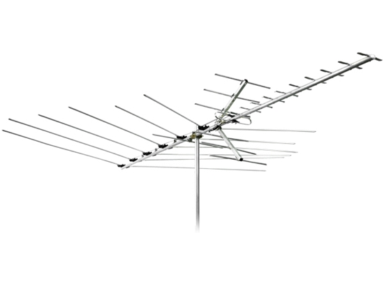 Channel Master CM-3018 Advantage HDTV Antenna UHF VHF FM Digital Mid Range 30 Element Near Fringe Off-Air Outdoor Roof Top, RED ZONE, Part # CM-3018 | With 50' FT Coax Cable