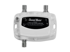 Channel Master 3410 Ultra Mini Distribution Amplifier Single Output RF 1 Port 15dB Drop Signal TV Booster Amp Multimedia 5-42 / 54-1002 MHz Passive Return