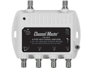 Channel Master 3414 Mini Distribution Drop Amplifier 8 dB UHF/VHF Multi-Media CM3414 Signal Amplifier TV RF Output Booster Amp Multimedia Digital Video Amplifier 5-42 / 54-1002 MHz Passive Return, Part # PCT-MA2-4P
