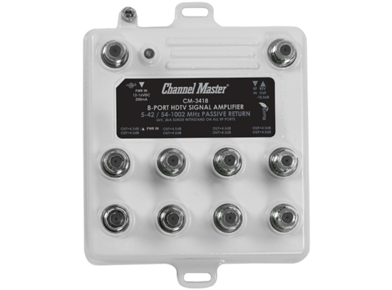 Channel Master CM-3418 8 Port Distribution Amplifier 8-Way 4 dB 50-1100 MHz 22 dB Gain 8 Port Amp with Return Path Multi-Set Off-Air Antenna HDTV Local Television Aerial Signal Distribution Booster, Part # CM-3418