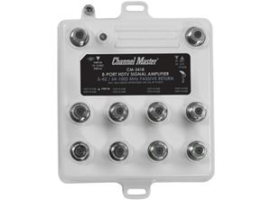 Channel Master 3418 8 Way Distribution Amplifier 8 Output 50 - 900 MHz 22 dB Gain 8 Port Amp with Return Path CM3418 Multi-Set Off-Air Antenna HDTV Local Television Aerial Signal Distribution Booster, Part # 3418