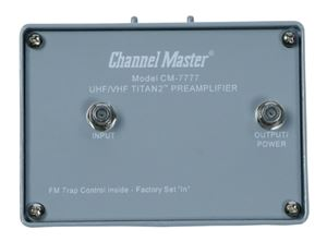 Channel Master CM-7777 Titan 2 VHF/UHF TV Antenna Preamplifier with Power Supply High Gain Mast Mount CM7777 Booster Pre-Amplifier Off-Air HDTV Amp