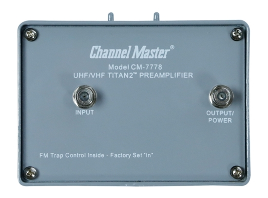 Channel Master CM-7778 Titan 2 TV Antenna Pre-Amplifier Medium Gain 16 dB UHF VHF Booster with Power Supply Signal Booster Mast Mounted Off-Air Outdoor Local Television Aerial, 75 Ohm