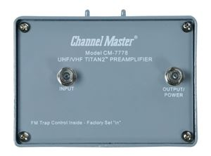 Channel Master CM7778 Pre-Amplifier Titan 2 with Power Supply 16 dB TV Antenna UHF VHF Signal Booster Mast Mounted Off-Air Outdoor Local Television Aerial, 75 Ohm