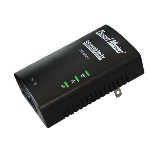 Channel Master CM6100 Ethernet Over Powerline Adapter Kit 1 Port Network 200 Mbps Transmission Rate MoCA 1.1 Compliant 16 Nodes Uses Existing Home Electrical System to Link Internet, Part # CM6100