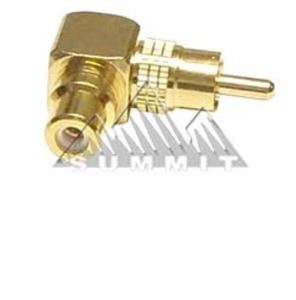 Vanco Right angle RCA Plug Adapter Gold RCA Female Plug to RCA Male 90 Degree RCA F to RCA M Connector 1 Pack Stereo Cable Audio Video Tool Less Hook-Up Component Connector, Part # 110023X