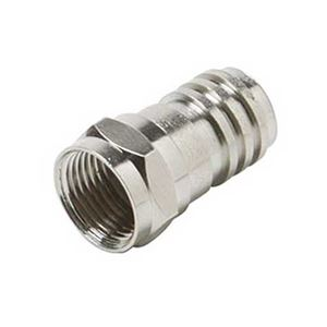 Steren 200-030-25 Crimp-On F Connector RG59 Nickel Plated Construction 25 Pack Single RG-59 Coaxial Cable F Connector Coax Cable Hex Crimp End Connector with Attached Crimp Ring, Part # 200030-25