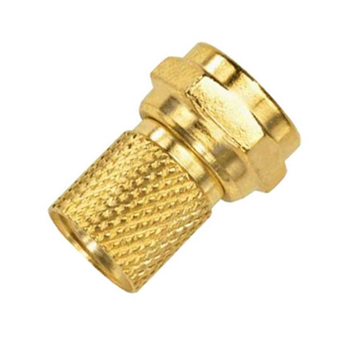 Steren 200-043-25 Twist On F-Connector RG6 Gold Plated Brass Single 25 Pack RG-6 Coaxial Cable Digital Satellite Dish Antenna TV Signal Tool Less Connector, Easy Hook-Up Component Plugs, Part # 200043-25