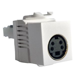Vanco S-Video Jack SVHS Jack Keystone Insert White Multi-Media Termination Single S-Video Insert Jack Connector QuickPort Super VHS Component Snap-In Wall Plate Module Plug
