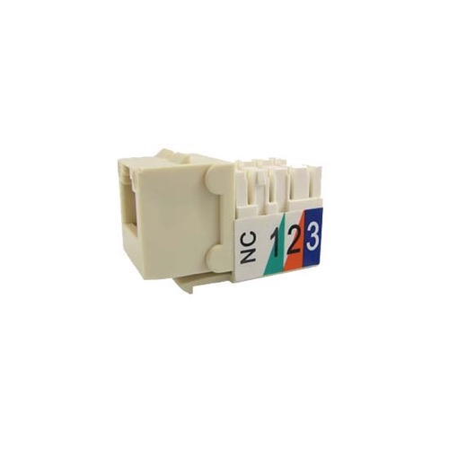 Steren 310-110AL CAT5E Keystone Jack Almond RJ45 Insert Cat5e Connector Network 8P8C Cat-5e RJ-45 QuickPort 8 Wire Twisted Pair Modular Telephone Wall Plate Snap-In Computer Data Network Telecom, Part # 310110-AL