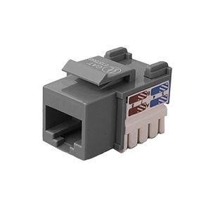 Channel Master CAT5e Keystone Insert RJ45 Gray Jack Modular Multi-Media Datacom 8P8C Network Connector CAT-5e RJ-45 QuickPort 8 Wire Twisted Pair Telephone Wall Plate Snap-In Telecom Port, Part # AC5EKJGR