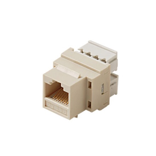Channel Master CAT5E Keystone Jack Insert Ivory RJ45 Connector Network 8P8C Cat-5e RJ-45 QuickPort 8 Wire Twisted Pair Modular Telephone Wall Plate Snap-In Insert Computer Data Network Telecom