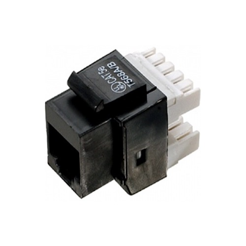 Steren 310-110BK CAT5E Keystone Jack Black RJ45 Insert 90 Degree Entry Point 8P8C Modular Coupler Cat 5e Connector Network RJ-45 QuickPort 8 Wire Twisted Pair Telephone Snap-In Insert Computer Data Telecom, Part # 310110-BK