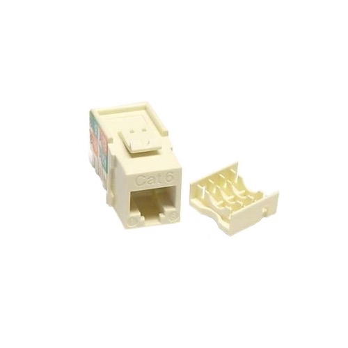 Steren 310-110LA CAT 5E Keystone Jack Insert Light Almond 180 Degree RJ45 Connector CAT5e Network 8P8C RJ-45 QuickPort 8 Wire Twisted Pair Modular Telephone Wall Plate Snap-In Insert Computer Data Telecom, Part # 310110-LA